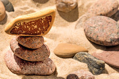 Zen pyramid with eye. Zen pyramid with stone with eye royalty free stock images