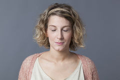 Zen relaxation for smiling 20s blond woman Royalty Free Stock Photos