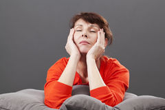 Zen relaxation for tired 50s gorgeous woman Stock Image