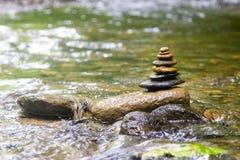 Zen river rock pile Royalty Free Stock Photos