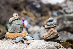 Zen rock arrangement that mimic the Stupa along hiking trail to the mountains of Annapurna, Nepal Stock Photos