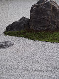 Zen Rock Garden. The gravel in this rock garden is raked into patterns as a form of meditation Royalty Free Stock Image