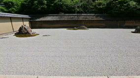 Zen Rock Garden in Ryoan-ji Temple, Kyoto, Japan. The stones are placed so that the entire composition cannot be seen at once from the veranda stock video footage
