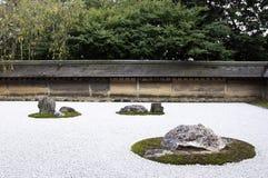 Zen Rock Garden in Ryoanji Temple. A Zen Rock Garden in Ryoanji Temple.In a garden fifteen stones on white gravel. Kyoto.Japan Stock Images