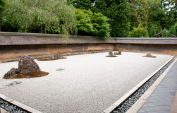 Zen Rock Garden in Ryoanji Temple Stock Photography