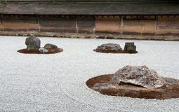 Zen Rock Garden in Ryoanji Temple Stock Photo