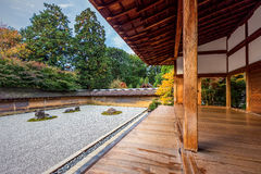 Zen Rock Garden in Ryoanji Temple Royalty Free Stock Image