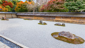 A Zen Rock Garden in Ryoanji Temple in Kyoto Royalty Free Stock Photo