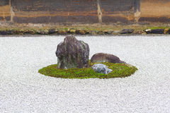 Zen Rock Garden in Ryoanji Temple. Royalty Free Stock Image