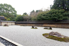 Zen Rock Garden in Ryoanji Temple. Royalty Free Stock Photography