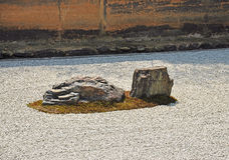 Zen rock garden at Ryoanji temple Stock Photo