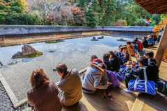 Zen Rock Garden in Ryoanji Temple in Kyoto Stock Images