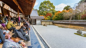 A Zen Rock Garden in Ryoanji Temple in Kyoto Royalty Free Stock Photography
