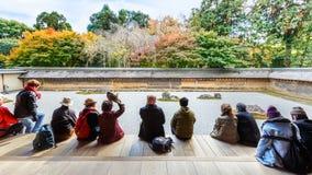 Zen Rock Garden in Ryoanji Temple in Kyoto Stock Photo