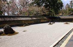 Zen Rock Garden in Ryoanji Temple in the spring, Kyoto, Japan stock photos