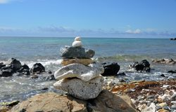 Zen rock stack 1. A stack of rocks in a Zen pattern with the Atlantic Ocean in the background royalty free stock photography