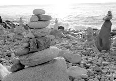 Zen rocks arranged at the beach Royalty Free Stock Photography