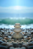 Zen rocks on the beach. Zen rocks for meditation. Being at peace using beginners mind Stock Photo