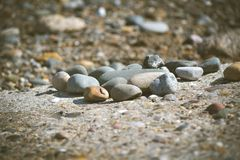 Zen rocks on the beach. Zen rocks for meditation. Being at peace using beginners mind Stock Photos