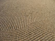 Zen Sand 3. Sand grinding pattern in the temple grounds of Shintennoji, Osaka, under natural afternoon sun Royalty Free Stock Images