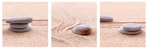 Zen Sand en stenen Royalty-vrije Stock Foto