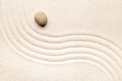Zen sand and stone garden with raked curved lines. Simplicity, c. Oncentration or calmness abstract concept. Top view Stock Photography