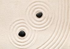 Zen sand and stone garden with raked lines, curves and circles. Simplicity, concentration or calmness abstract concept. Top view Stock Photo