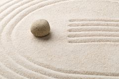 Zen sand and stone garden with raked lines and curves. Simplicit. Zen sand and stone garden with raked lines and curves with selective focus. Simplicity Stock Photography