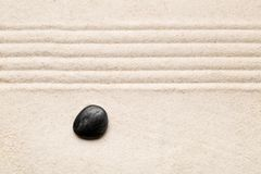 Zen sand and stone garden with raked lines. Simplicity, concentr. Ation or calmness abstract concept. Top view Stock Image