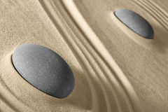 Zen sand and stones garden Royalty Free Stock Photography