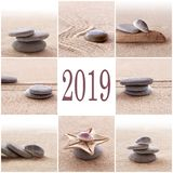 2019 zen sand and stones greeting card. 2019, zen sand and stones greeting card royalty free stock photos