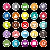 Zen society flat icons with long shadow Stock Photo