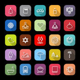 Zen society line icons with long shadow Stock Image