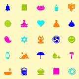 Zen society neon icons with shadow Royalty Free Stock Images