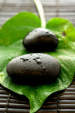 Zen spa. Massage stones, leaf and bamboo mat create this zen-like spa scene Stock Photos