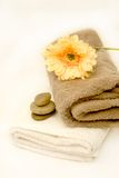 Zen Spa Calming. Natural organic calming spa with towels and pebbles Stock Photography