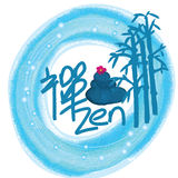 Zen spa decor. Illustration design painting blue zen spa decor white color background Stock Images