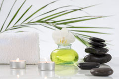 Zen Spa embience. Zen basalt stones and cadle,spa background Royalty Free Stock Image