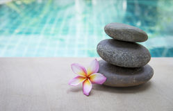 Zen spa stone with plumeria flower. Over blurred blue swimming pool background Stock Image