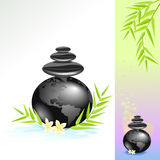 Zen Spa Wereld met Zwarte Stenen Royalty-vrije Stock Afbeeldingen