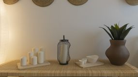 Zen space background with wicker elements and white wall stock photo