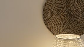 Zen space background with wicker elements and white wall stock image