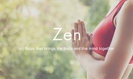 Zen Spirituality Buddhism Body e concetto di meditazione di mente fotografia stock libera da diritti