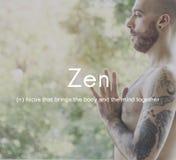 Zen Spirituality Buddhism Body och meningsmeditationbegrepp royaltyfri bild