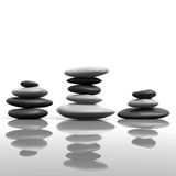 Zen Stacking Stones. 3D illustration of zen stones stacking up on a reflective surface, metaphor for meditation and tranquility Stock Photo