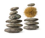 Zen stacks. Two Zen-like stacks of balanced stones isolated on white background stock images