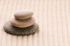 Zen. Steen en zand Stock Foto