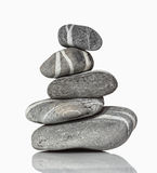 Zen stone. Image of balance gray pile stone on white background Stock Photo