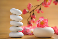 Zen stone and aromatic soap bar Royalty Free Stock Images