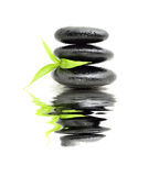 Zen stone with bamboo leaf Stock Images